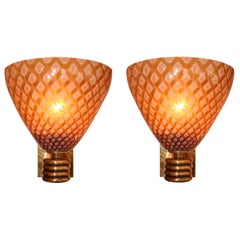 Pair of Italian Amber 'Caramella' Wall Lights