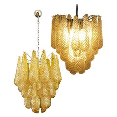 Pair of Italian Amber Crystal Chandeliers, Murano