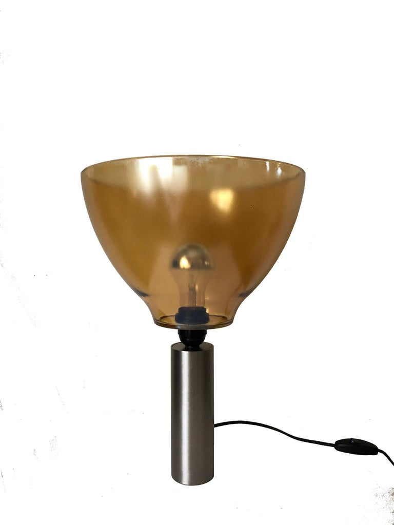 Pair of Italian Amber Murano Glass Table Lamps, 1980s For Sale 3