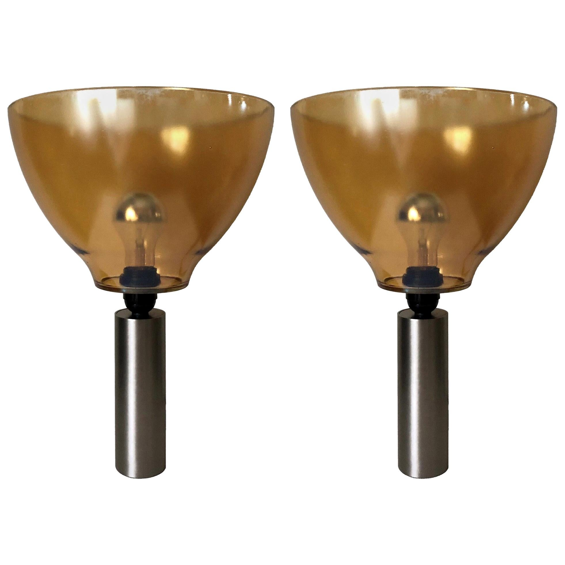 Pair of Italian Amber Murano Glass Table Lamps, 1980s