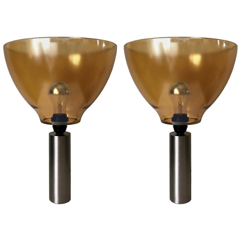 Pair of Italian Amber Murano Glass Table Lamps, 1980s For Sale
