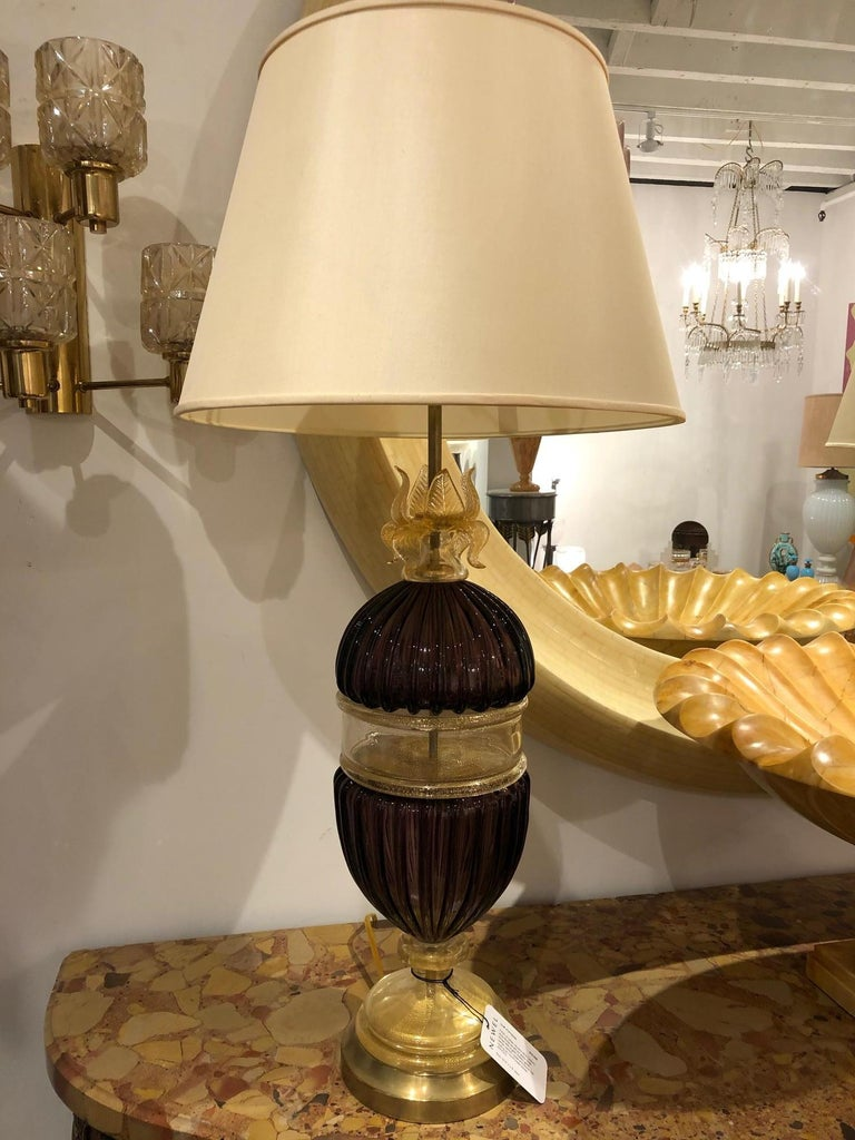 Pair of Italian Murano Amethyst Glass Table Lamps For Sale 2