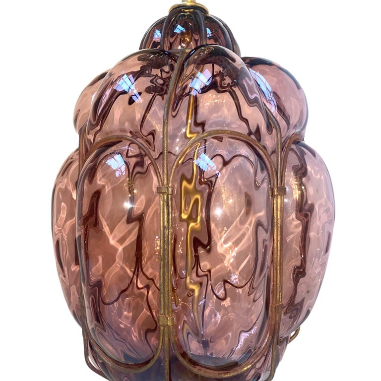 Mid-20th Century Pair of Italian Amethyst Glass Table Lamps For Sale