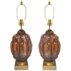 Pair of Italian Amethyst Glass Table Lamps