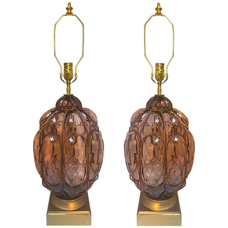 Pair of Italian Amethyst Glass Table Lamps For Sale