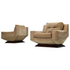 Pair of Italian Angular Lounge Chairs with Velvet Upholstery