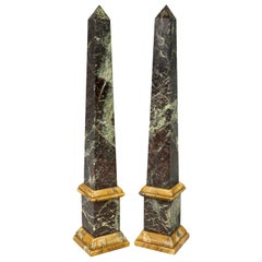 Pair of Italian Antico Verde and Siena Marble Obelisks