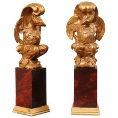 Pair of Italian Antique Aquilae 'Eagles' Carved and Gilt, on Wood Pedestals