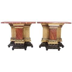 Pair of Italian Antique Faux Marble Consoles