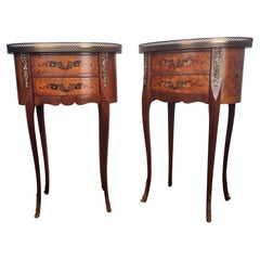 Pair of Italian Antique Marquetry Walnut Bedside Nightstands Tables with Drawers