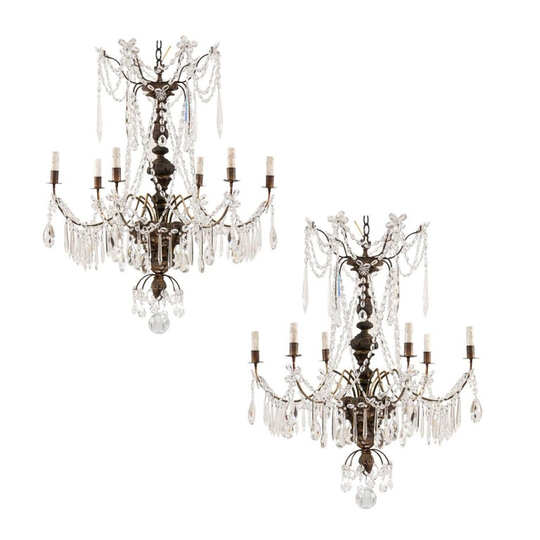 Pair of Italian Antique Six-Light Carved Wood and Crystal Chandeliers