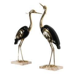 Pair of Italian Antonio Pavia Style Brass & Black Lacquer Italian Egrets, 1980s
