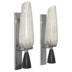 Pair of Italian Appliques Metal Enamel Chrome Glass Reticello style of Stilnovo