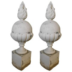 Pair of Italian Architectural Ornate Metal Flame Finials