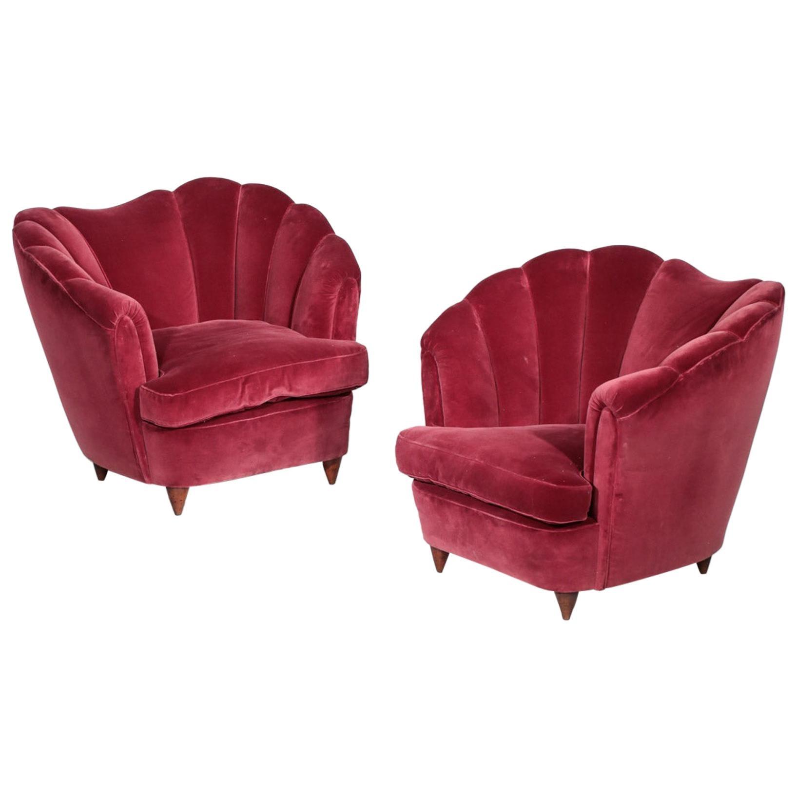 Pair of Italian Armchair in the Style of Gio Ponti Burgundy Velvet
