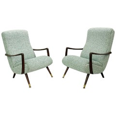 Pair of Italian armchair - New upholstery  c.1950s