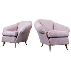 Pair of Italian Armchairs, 1950s, New Upholstery