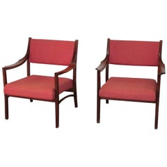 Pair of Italian Armchairs 1960s Curved Wood Ico Parisi model 110 by Cassina