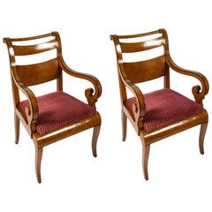 19th Century Charles X Pair of Italian Armchairs from Genoa Violet Red Velvet