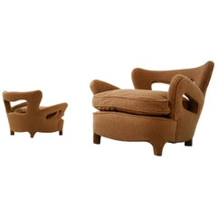 Pair of Italian Armchairs Attributed to Carlo Enrico Rava in Bouclè Fabric, 1940