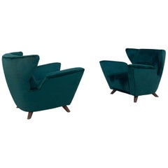 Pair of Italian Armchairs Attributed to Gio Ponti in Green Velvet, 1950s