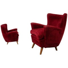 Pair of Italian Armchairs Attributed to Melchiorre Bega in Bordeaux Velvet, 1950