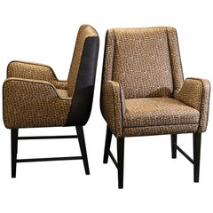 Pair of Italian Armchairs, Black Wood and Printed Silk, circa 1950
