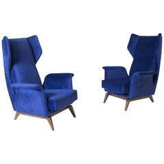 Pair of Italian Armchairs by Cassina in Blue Velvet, 1950s