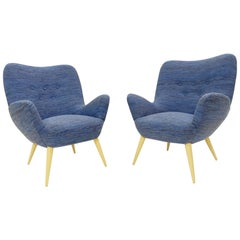 Pair of Italian Armchairs by Cavatorta, 1950s, New Blue Upholstery