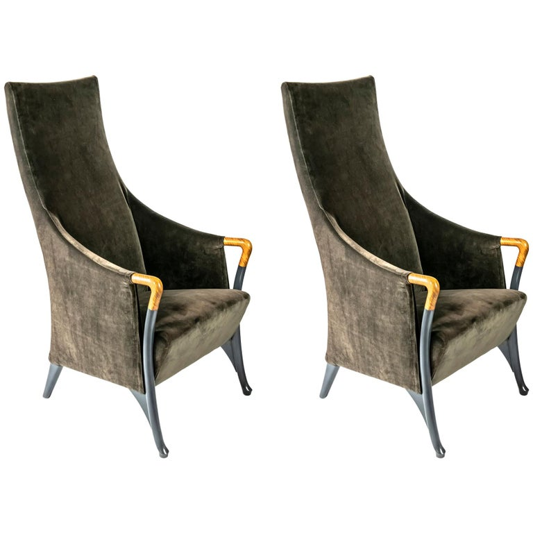 Pair of Italian Armchairs by Giorgetti For Sale