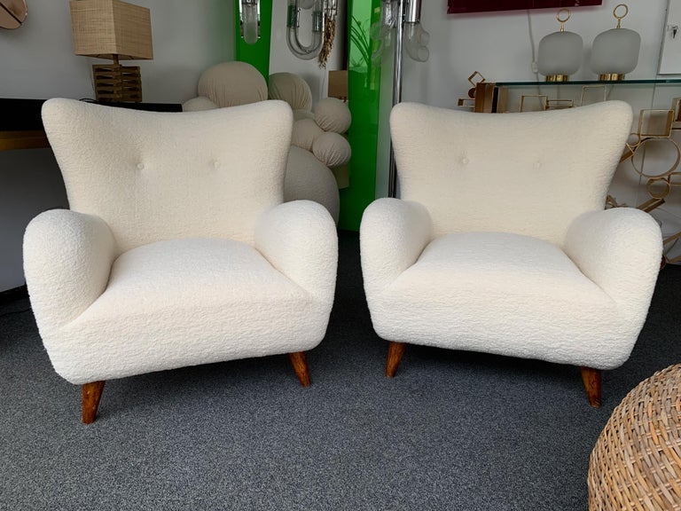 Pair of Italian Armchairs by Melchiorre Bega, Italy, 1950s For Sale 5