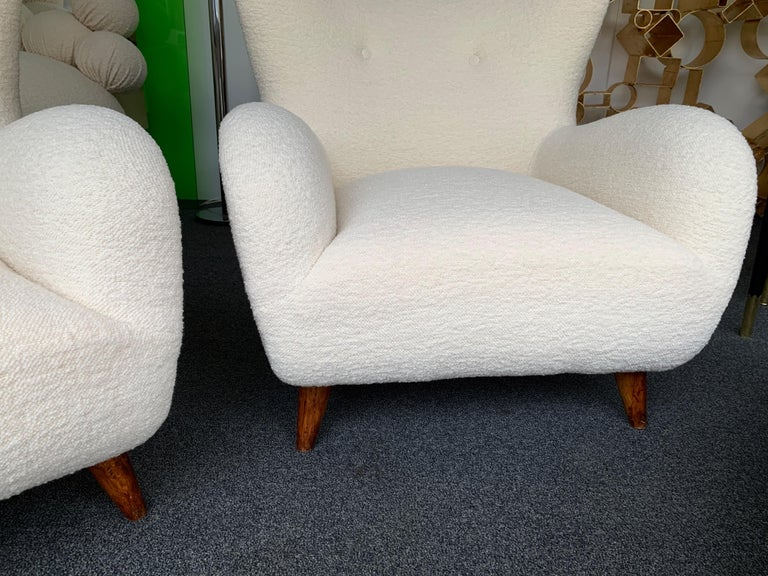 Pair of Italian Armchairs by Melchiorre Bega, Italy, 1950s For Sale 1