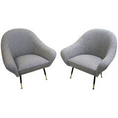 Pair of Italian Armchairs, circa 1950, New Upholstery