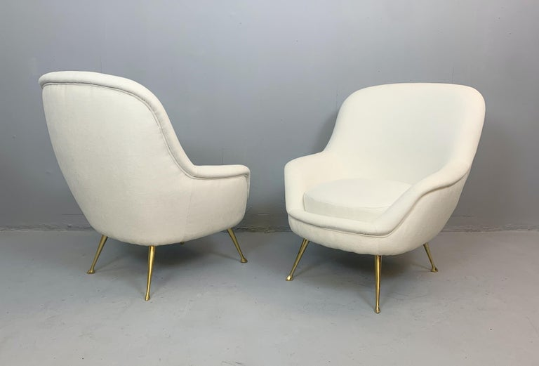 Upholstery Pair of Italian Armchairs For Sale