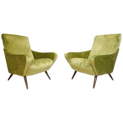 Pair of Italian Armchairs from the 1960s with New Green Velvet Upholstery
