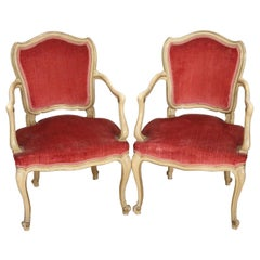 Pair of Italian Armchairs in Baroque Style Lacquered and Gilded with Velvet