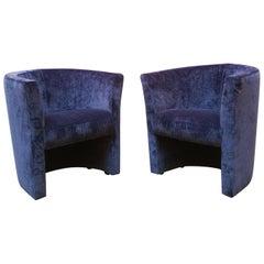 Pair of Italian Armchairs in Blue Velvet, 1970s