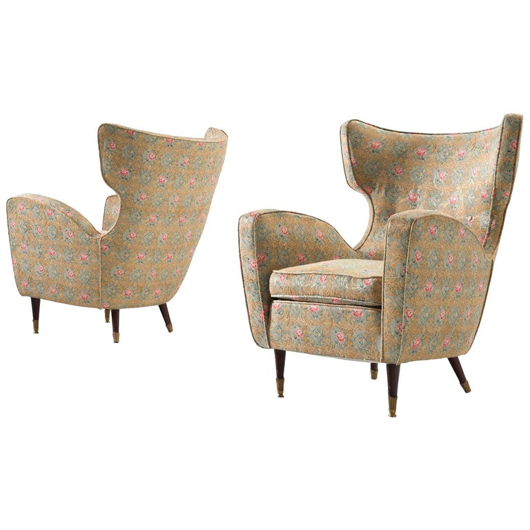 Pair of Italian Armchairs in Floral Upholstery For Sale