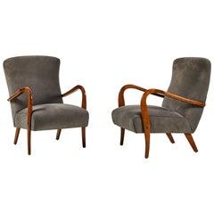 Pair of Italian Armchairs in Grey Suede