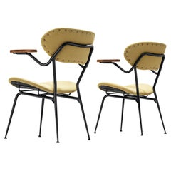 Pair of Italian Armchairs in Metal and Olive Green Fabric