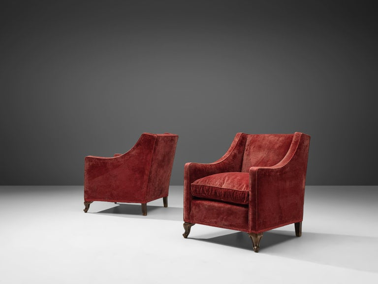 Art Deco Pair of Italian Armchairs in Red Velour For Sale