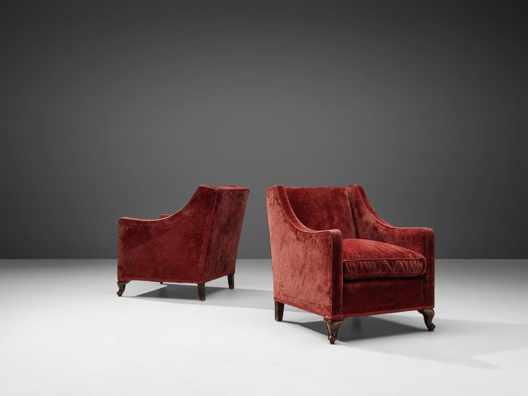 European Pair of Italian Armchairs in Red Velour For Sale