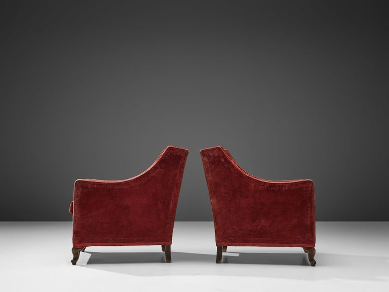 Pair of Italian Armchairs in Red Velour In Good Condition For Sale In Waalwijk, NL