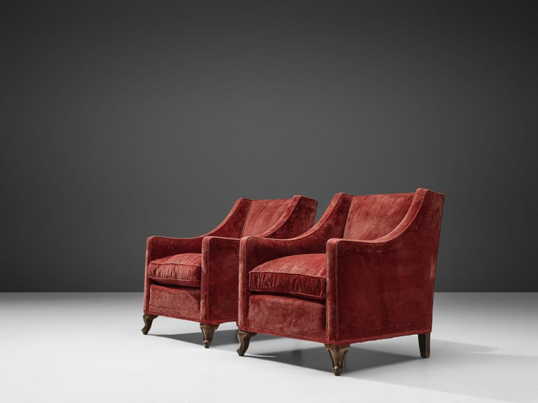 Mid-20th Century Pair of Italian Armchairs in Red Velour For Sale