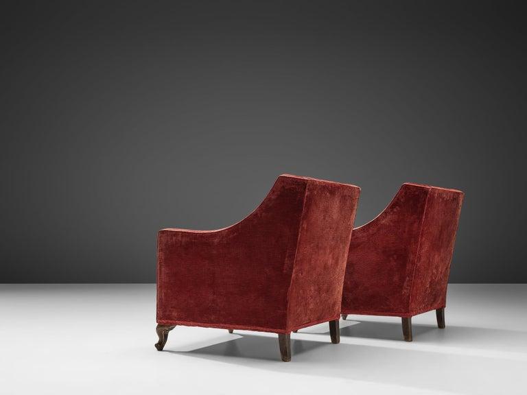 Velvet Pair of Italian Armchairs in Red Velour For Sale