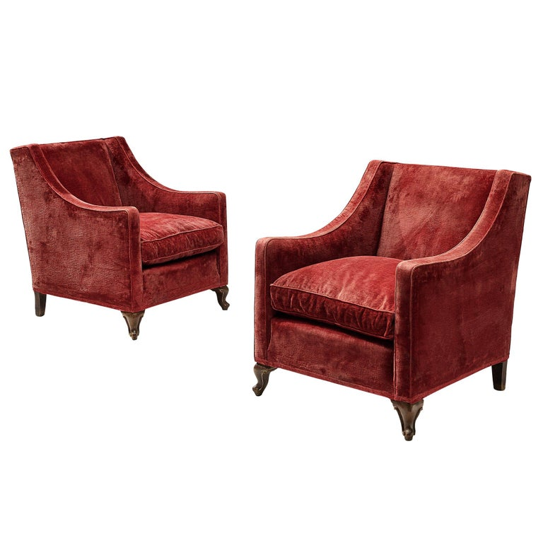 Pair of Italian Armchairs in Red Velour For Sale