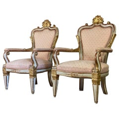 Pair of Italian Armchairs in Sculpted Giltwood