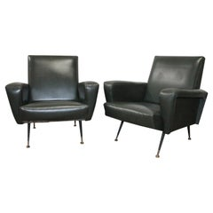Pair of Italian Armchairs in the Style of Gio Ponti, 1950s