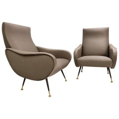 Pair of Italian Armchairs in the Style of Marco Zanuso