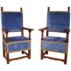 Pair of Italian Armchairs in Walnut, circa 1600